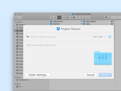 Native Dropbox sharing on macOS macos osx dropbox