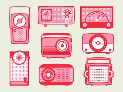 Vintage Radios tuned music icon flat interface 50s radio vintage