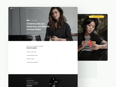 Web Pages for C6 Bank visual ui ux digital clean responsive money bank lading page web financial