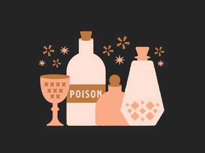 Pick your poison cute hallween rough retro cocktails icons