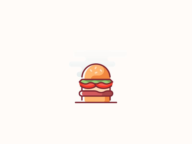 Hamburger / food icon meal food illustraion outline flat icon beef hamburger burger