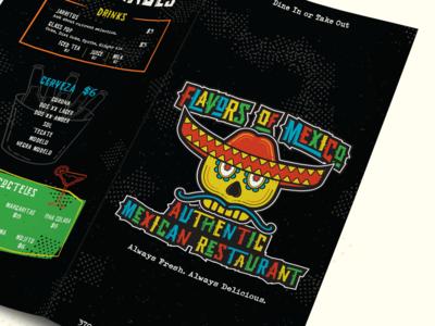 Flavors of Mexico Menu logo branding skull illustration illustrator restaurant mexicanfood mexican design menu