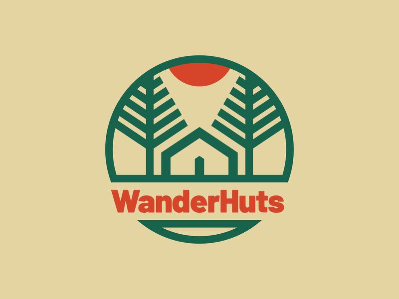WanderHuts wander nature trees camping wanderhuts visual identity brand identity design branding illustration logo illustrator
