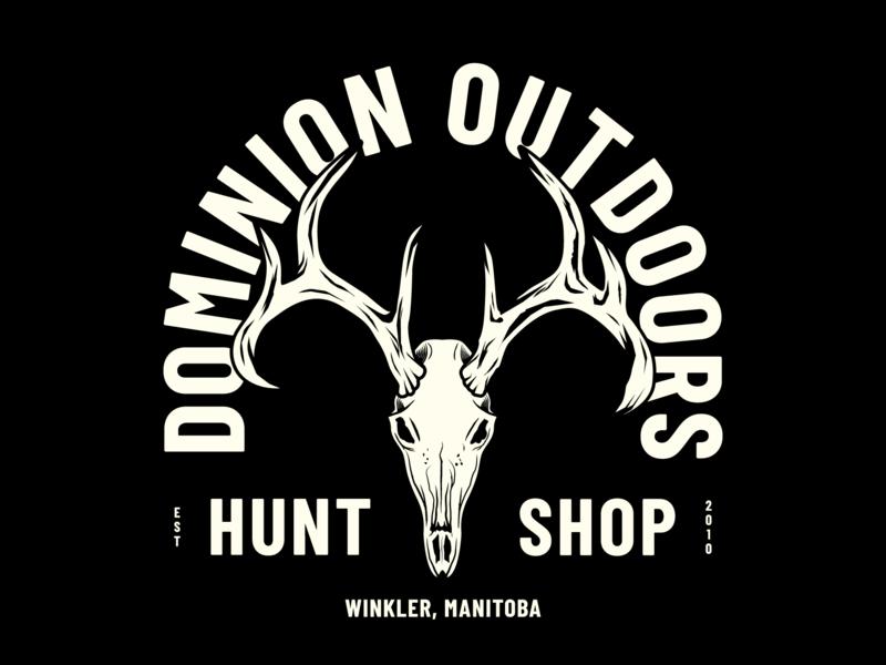 Hunt Shop skull dominion dominion outdoors whitetail deer antlers badge illustration shop hunt illustrator logo design
