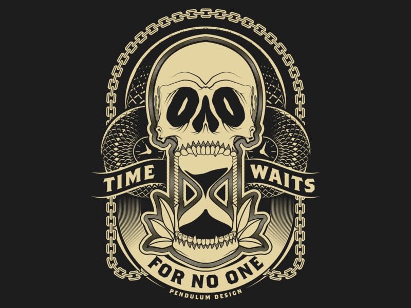 Killing Time time waits for no one vector clock illustrator illustration hourglass chain skull time
