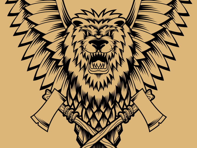 Pendulum Winged Lion winged lion winged wings lion head lion typography vector visual identity brand identity branding illustration design illustrator