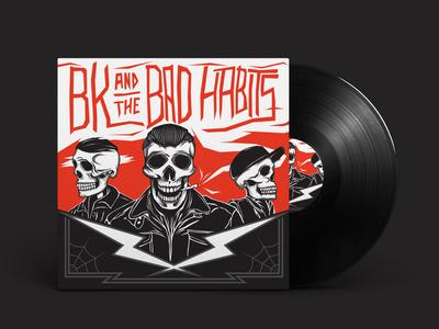 BK & The Bad Habits Album Cover weed skull album cover art record cover album cover vector illustration design illustrator