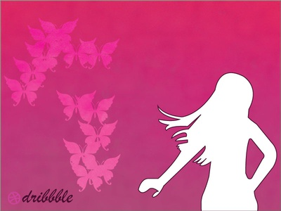 butterfly with girl illustation