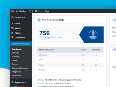 WP Membership Plugin Dashboard product design ui user interface