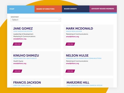 Staff Directory interaction web site product mobile design responsive design web design ui ux