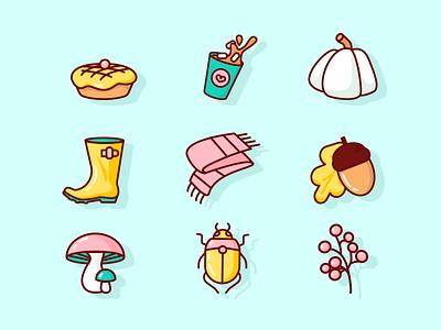 Autumn Icons bug mushroom leaf acorn scarf boots rainboots pumpkin coffee cacao pie autum flat icon vector design illustration