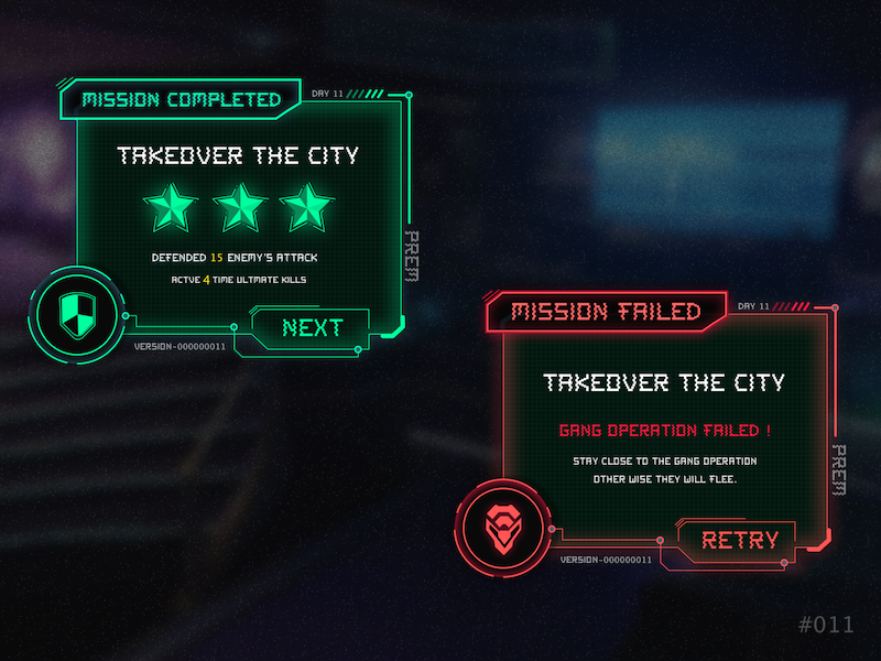 Gaming - Flash Message result gaming game red green interface failed uidesign dailyui ui success error