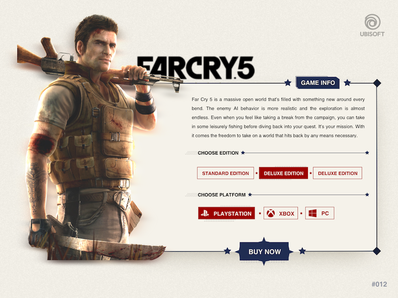 eCommerce Page - FARCRY 5 ubi soft buy now gameui product cart website game design dailyui ecommerce