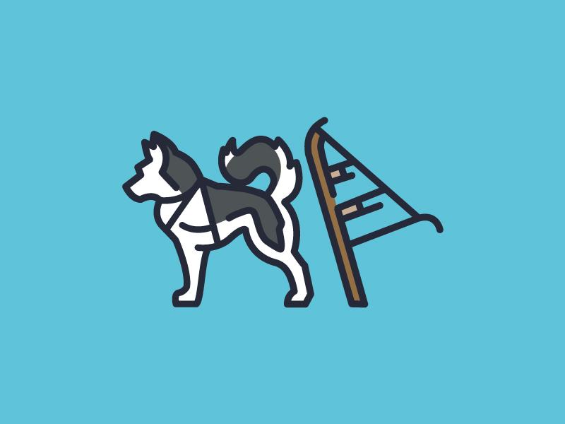 MUSH, MUSH! animal line art dog icon