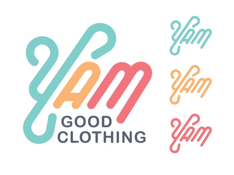 Yam Good Design lettering y lines clothing logo