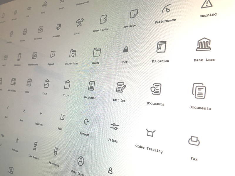 Project Icons simple interface ui iconography bold details line icons