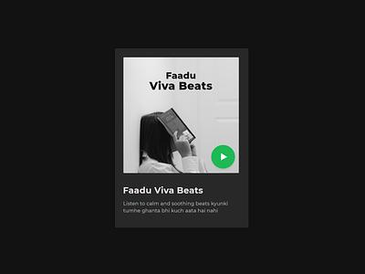 Spotify Playlist UI Card blackandwhite interface website dailyui black music app uicard cards card music green spotify flat minimal web app typography ux ui design