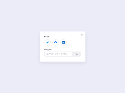 Social Media Share Modal UI Design button ui design daily daily ui social media share modal card adobe xd clean ui clean dailyui flat minimal web app typography ux ui design