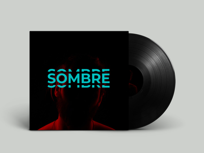 'Sombre' Vinyl Record Concept [EP Cover] [Album Cover][ lp] type mockup photoshop lp teal red graphic design vinyl vinyl record vinyl design cover art music album vinyl cover typography art typography branding design cover design cover