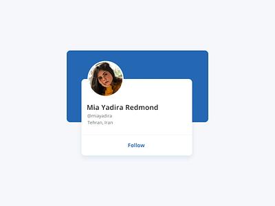 Profile Card UI Design interface clean cards ui profile profiles user profile daily ui 006 user card profile page profile card finance blue dailyui flat minimal web app ux ui design