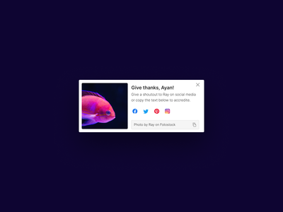 'Give Thanks' Social Share UI Card social media button dailyui copylink card web website ui colors minimal cleanui design modal share ux uiux uidesign user interface ui card fish