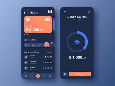 Mobile Banking dark target minimal app ux ui sketch iphone goal payments dark theme transition main page apple ios card banking mobile app