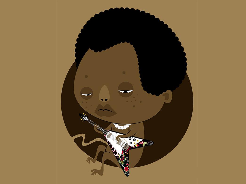 Jimi baby hendrix flying v afro baby embryo guitarist guitar jimi hendrix