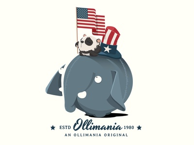Shirt design for one of Ollimania's main characters cute illustration art identity usa flag shirt typography usa design art illustrations illustrator