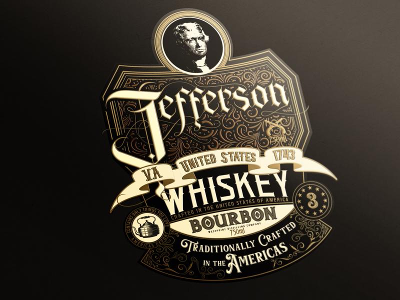 Whiskey Label Design john doe la john doe la jefferson type hiro hein hiro hein whiskey branding logo vector typography art direction illustrator artwork label design typogaphy