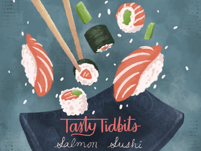 Flying Sushi food tasty texture brushes texture nori rice plate chopsticks fish salmon avocado nigiri sushi roll sushi foodillustration digital painting school of motion illustration motion design
