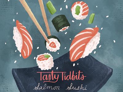 Flying Sushi food tasty texture brushes texture nori rice plate chopsticks fish salmon avocado nigiri sushi roll sushi foodillustration digital painting school of motion illustration motion design