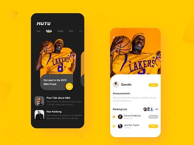 App-Basketball-Nba Finals ux ui ios app design icon iphone x