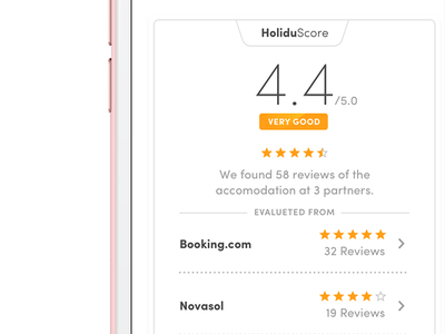 Review Widget web mobile ios user experience ui ux holidu score rating review