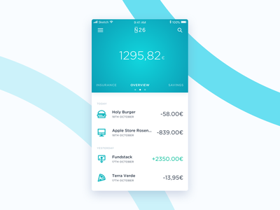 N26 Overview fintec interface mobile iphone ios app ux ui banking