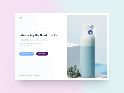 Quartz Landingpage header hero clean product web page landing ux ui interface