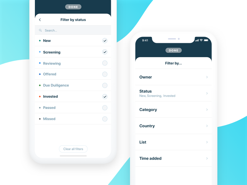 Fundstack Filters app todo check user ux interface ui iphonex ios hide filter
