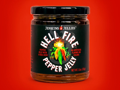 Jenkins Jellies Hell Fire Pepper Jelly label design graphic design brand design cpg food packaging design packaging design