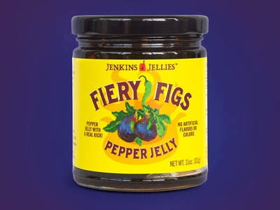 Jenkins Jellies Fiery Figs Pepper Jelly label design graphic design brand design cpg food packaging design logo design packaging design