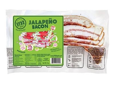 1732 Meats Jalapeño Bacon label design graphic design brand design cpg food packaging design packaging design