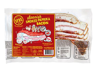 1732 Meats Paprika Bacon label design graphic design brand design cpg food packaging design packaging design