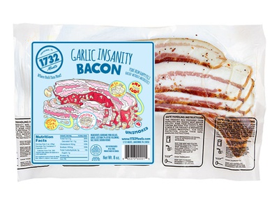 1732 Meats Garlic Insanity Bacon label design graphic design brand design cpg food packaging design packaging design