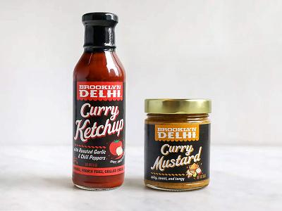 Brooklyn Delhi Curry Ketchup & Curry Mustard branding brooklyn delhi logo design cpg food packaging design packaging design