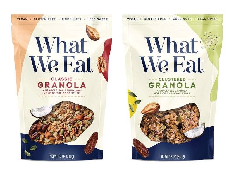 What We Eat Granola design typography cpg design consumer packaging design product design new york packaging design brooklyn packaging design branding logo design food packaging design graphic design brand design cpg packaging design