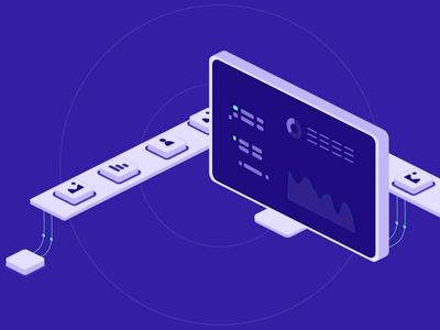 Mail.ru Cloud Solutions: Machine Learning conveyor dashboard monitor isometric animation illustration