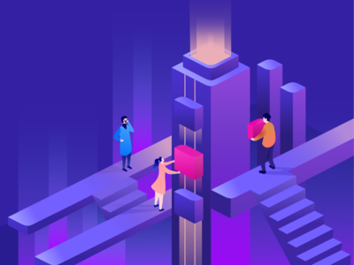 Mail.ru Cloud Managed Services: Illustration ladder light shining glow isometric people cloud illustration