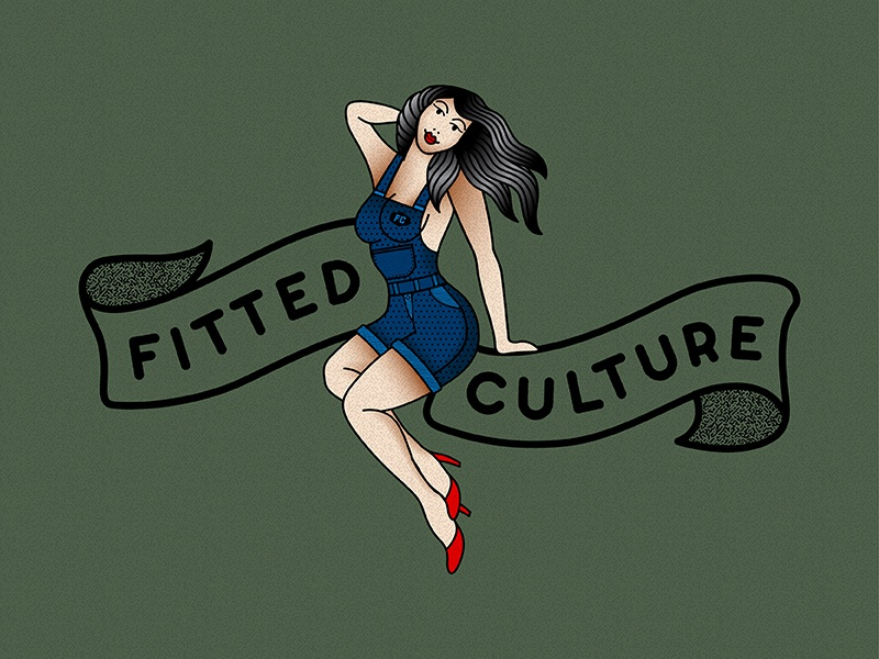 Fitted Culture Brand shading vector clothing branding pinup gradient flash tattoo traditional banner logo