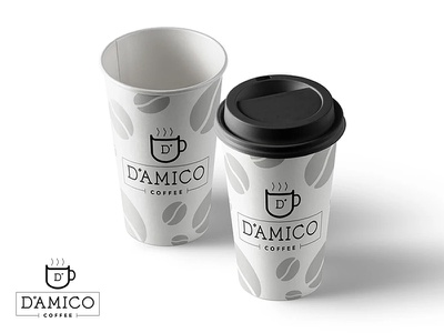 D'amico Coffee Logo Design/Cups cafe caffeine product coffee beans coffee cup branding logo