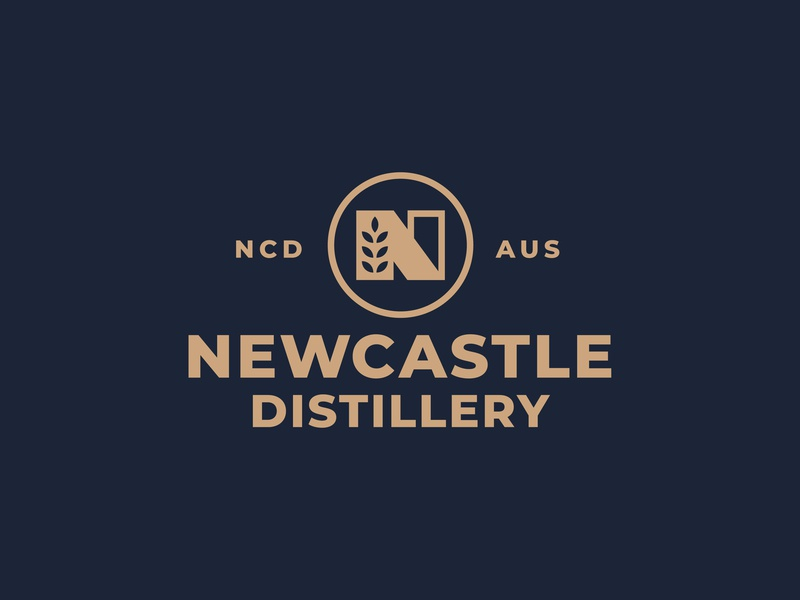 New Castle Distillery Logo australia whiskey alcohol distillery n vector nature thick lines minimal brand icon logo