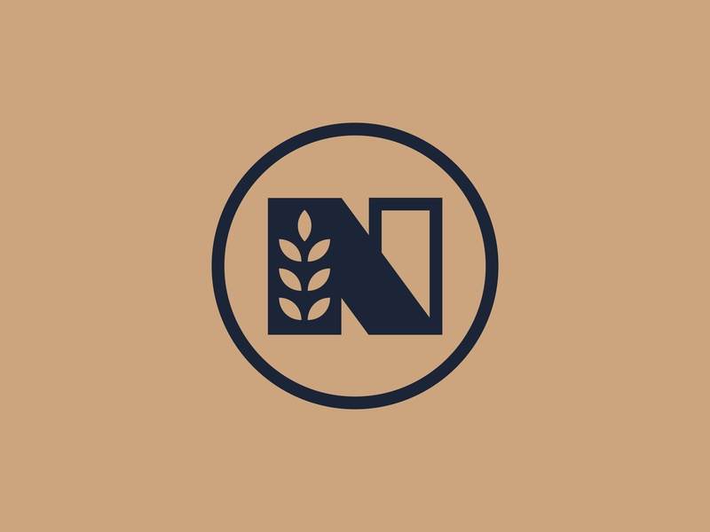New Castle Distillery Icon botanical field n spirits whiskey alcohol badge minimal branding nature thick lines brand icon logo