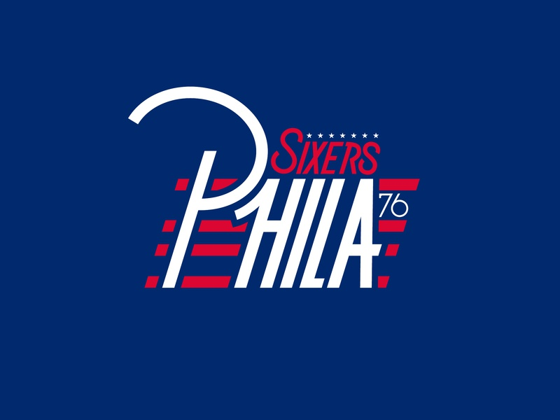 SIXERS ARE BACK! sports nba red white blue 76ers custom type philadelphia sixers basketball typography thick lines logo